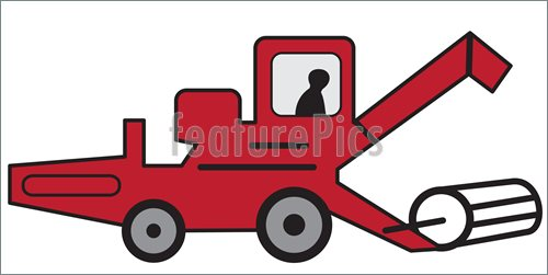 500x251 Cartoon Red Combine Harvester Stock Illustration I4899132