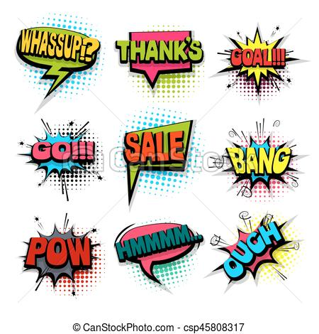 450x470 Comic Set Colored Comics Book Phrase Balloon. Thanks, Sale