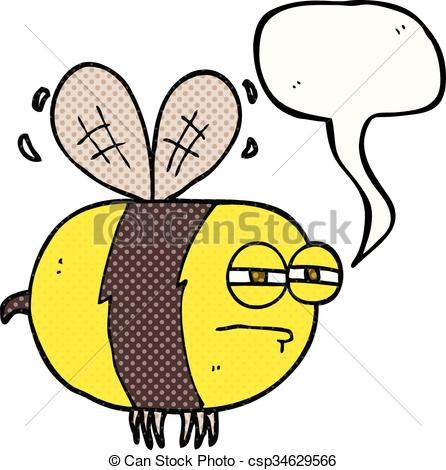 446x470 Freehand Drawn Comic Book Speech Bubble Cartoon Unhappy Bee Clip