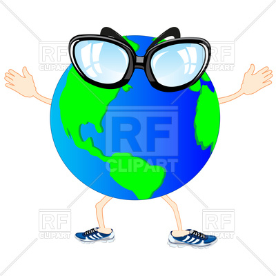 400x400 Comic Cartoon Planet With Hands And Legs Royalty Free Vector Clip