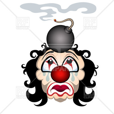 400x400 Comic Sad Clown With The Lit Bomb On His Head Royalty Free Vector