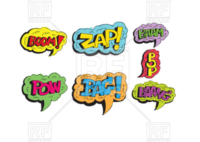 400x284 Multicolored Comic Sound Effects Speech Bubbles Royalty Free
