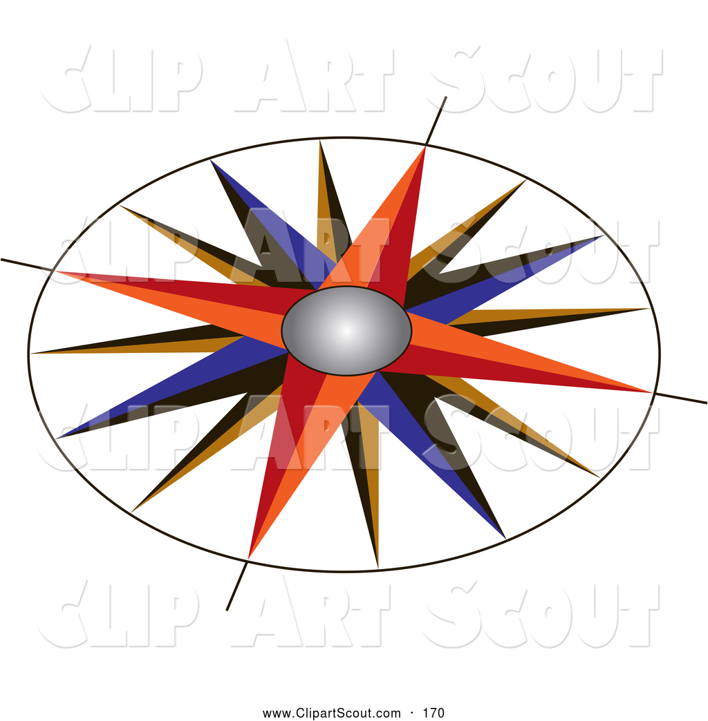 1024x1044 Clipart Of A Colorful Compass Rose With An Ornate Design On White