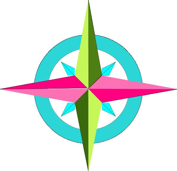 600x579 Compass Pink Aqua Green Clip Art