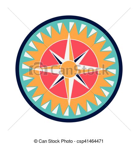450x470 Compass Rose Design. Vintage Compass Wind Rose Icon Over