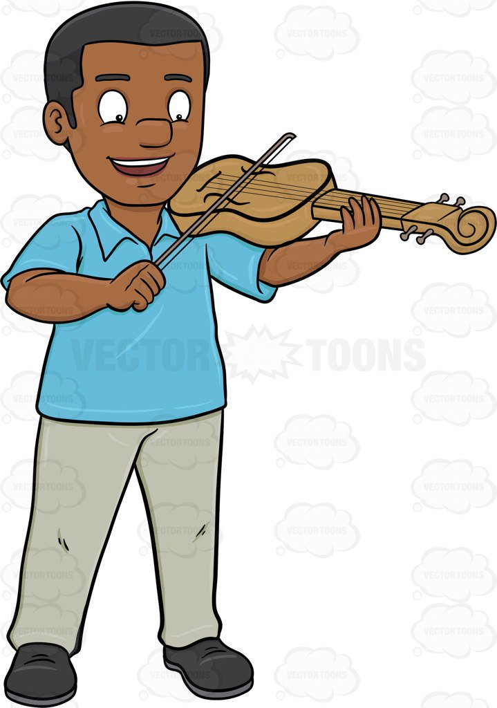 719x1024 A Happy Black Man Playing The Violin Cartoon Clipart Vector Toons