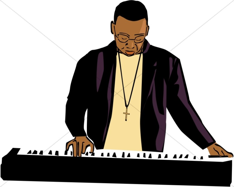 776x623 African American Keyboard Player Worship Clipart