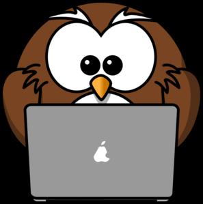 297x299 Owl Using A Laptop Clip Art