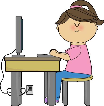 440x450 School Girl Using A Computer Clip Art School