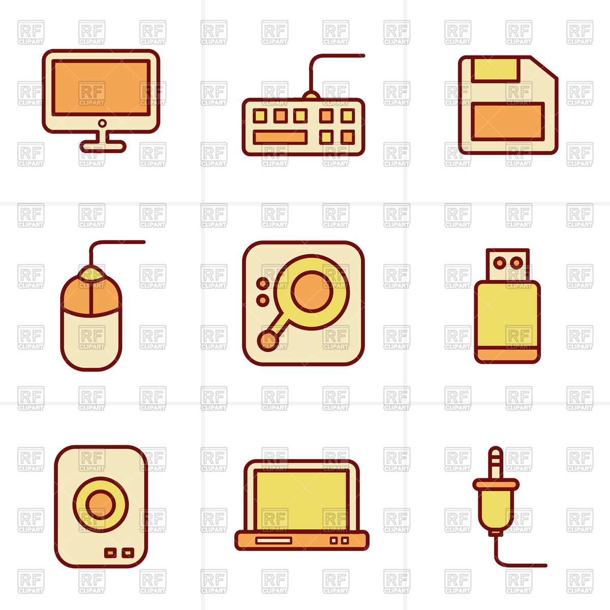 1200x1200 Computer Icons Set Flash Drive, Keyboard, Harddisk, Mouse Royalty
