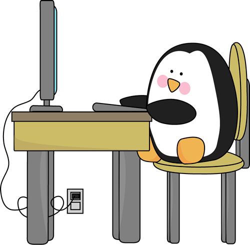 500x490 Penguin Using A Computer Educational Topics Amp Computer Lab Ideas