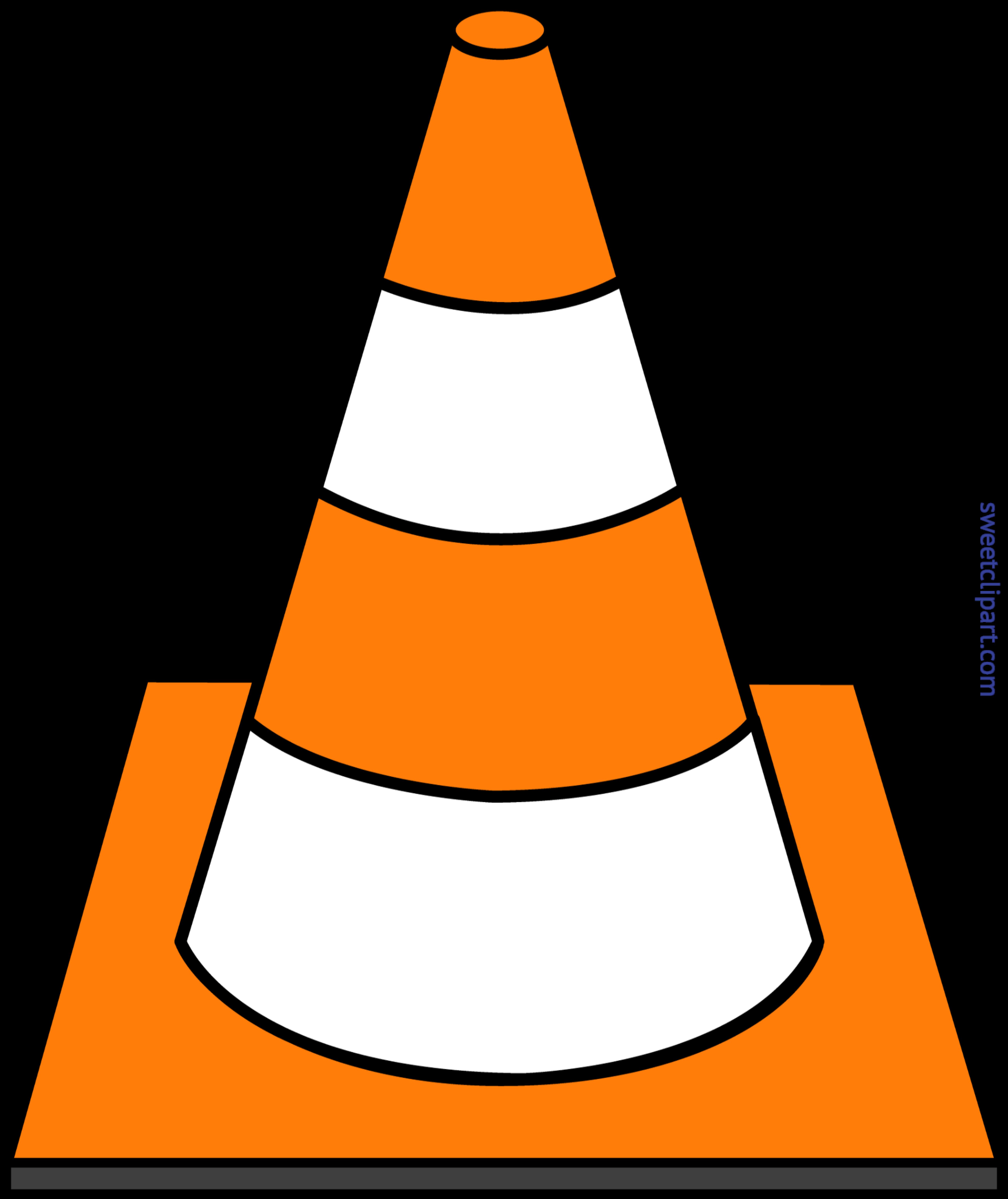 5199x6184 Construction Cone Striped Clip Art