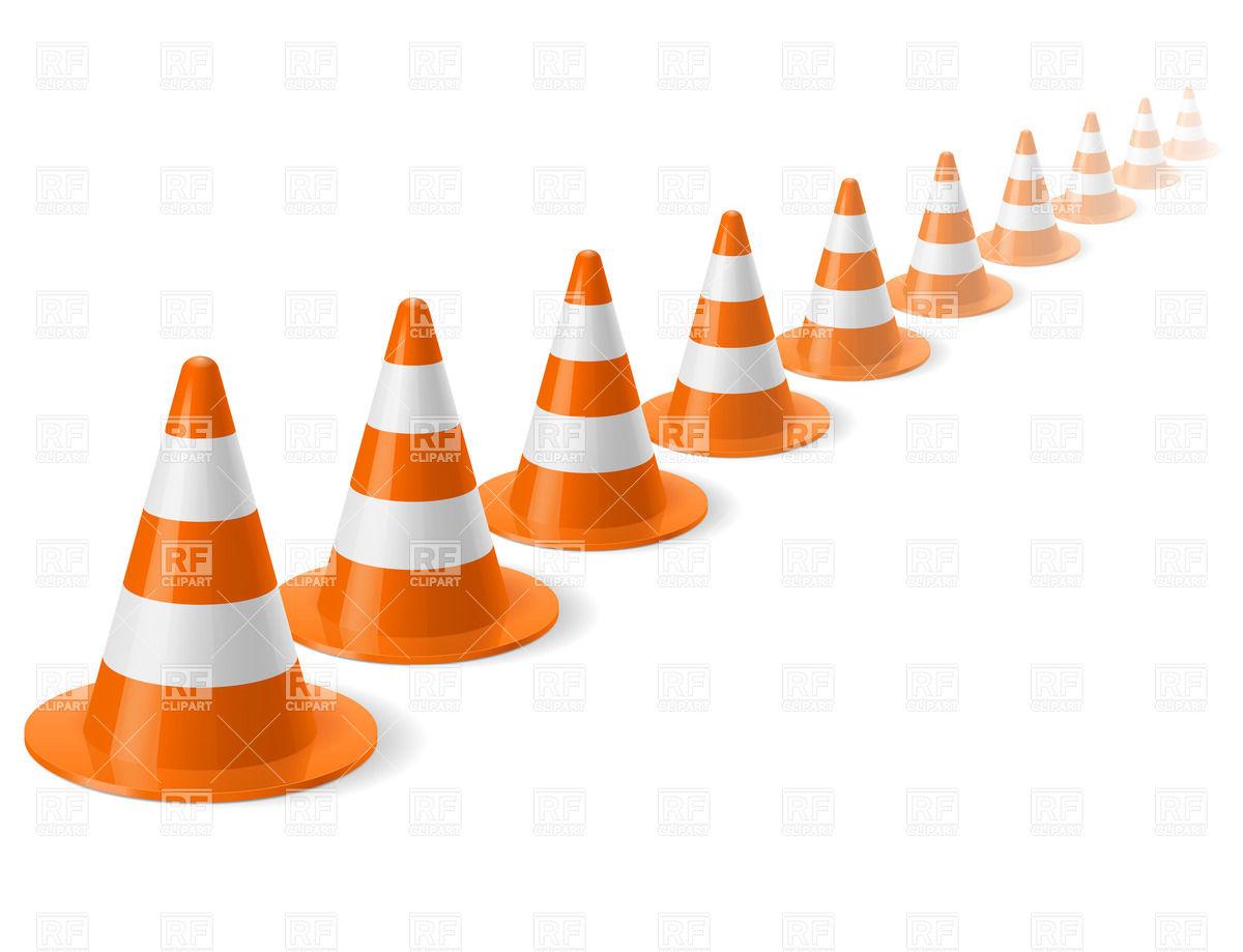 1200x919 Row Of Traffic Cones Royalty Free Vector Clip Art Image