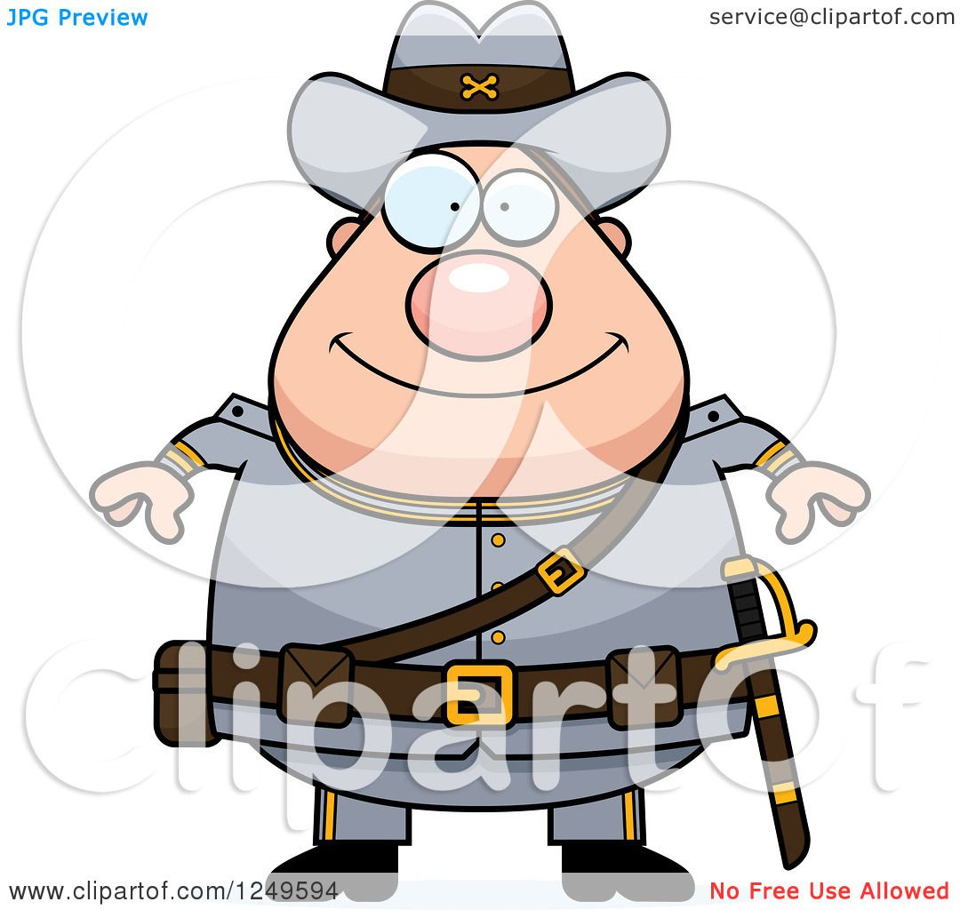 1080x1024 Clipart Of A Happy Chubby Civil War Confederate Soldier Man