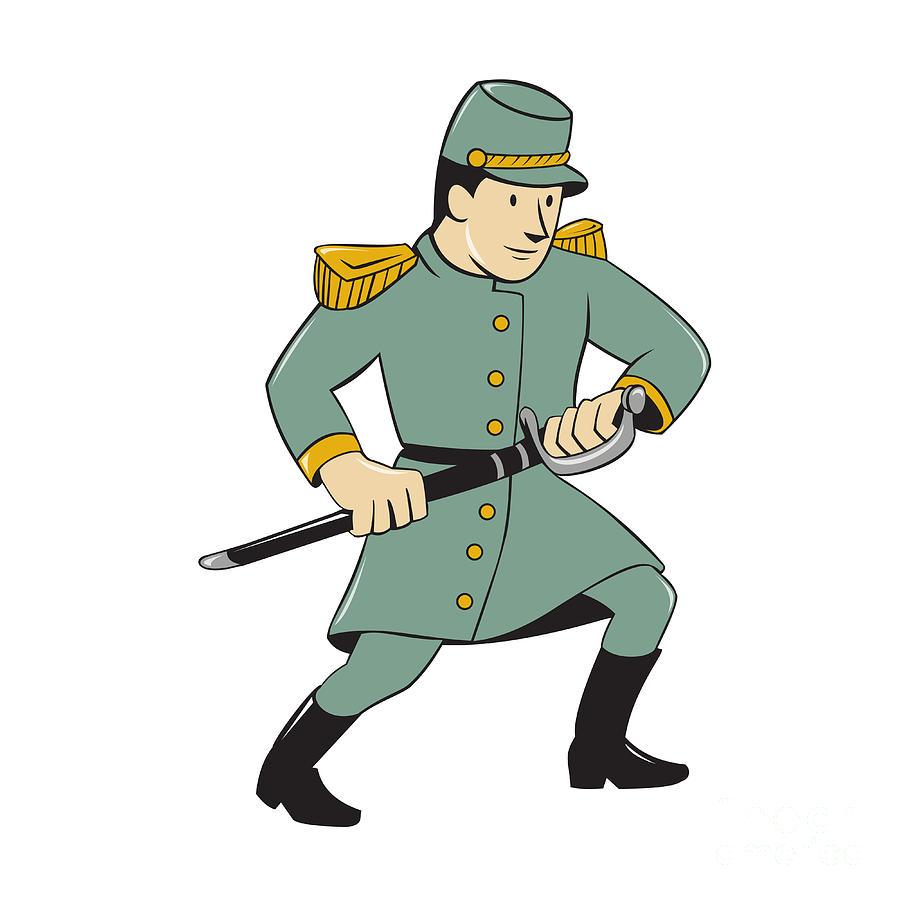 900x900 Confederate Army Soldier Drawing Sword Cartoon Digital Art By