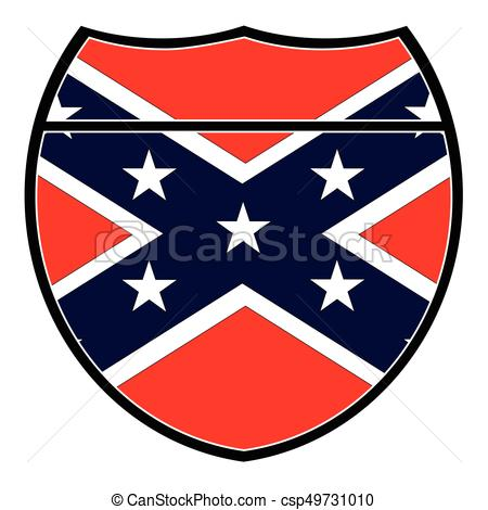 450x470 Confederate Flag In An Interstate Sign Over A White Vector Clip
