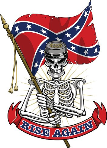 354x489 Skeleton Wearing Confederate Cap, Flag And Banner Stock Vectors