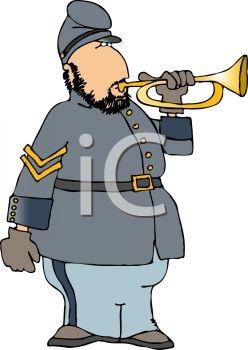 248x350 Clip Art Cartoon Of A Confederate Soldier Blowing A Bugle Ne50r5c