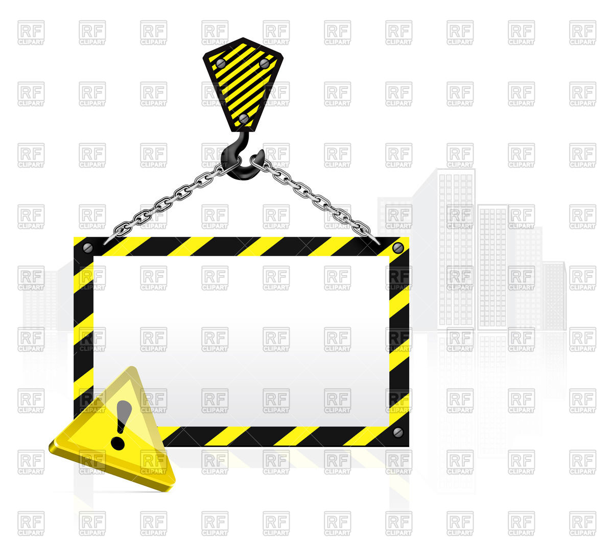 1200x1058 Crane Hook With Blank Poster Royalty Free Vector Clip Art Image