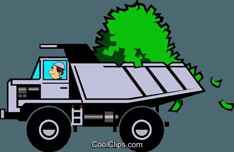 480x312 Cartoon Dump Truck With Money Royalty Free Vector Clip Art