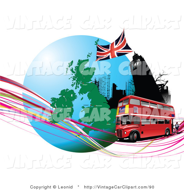 600x620 Clipart Of A Red Double Decker Bus Passing The Big Ben Clock Tower