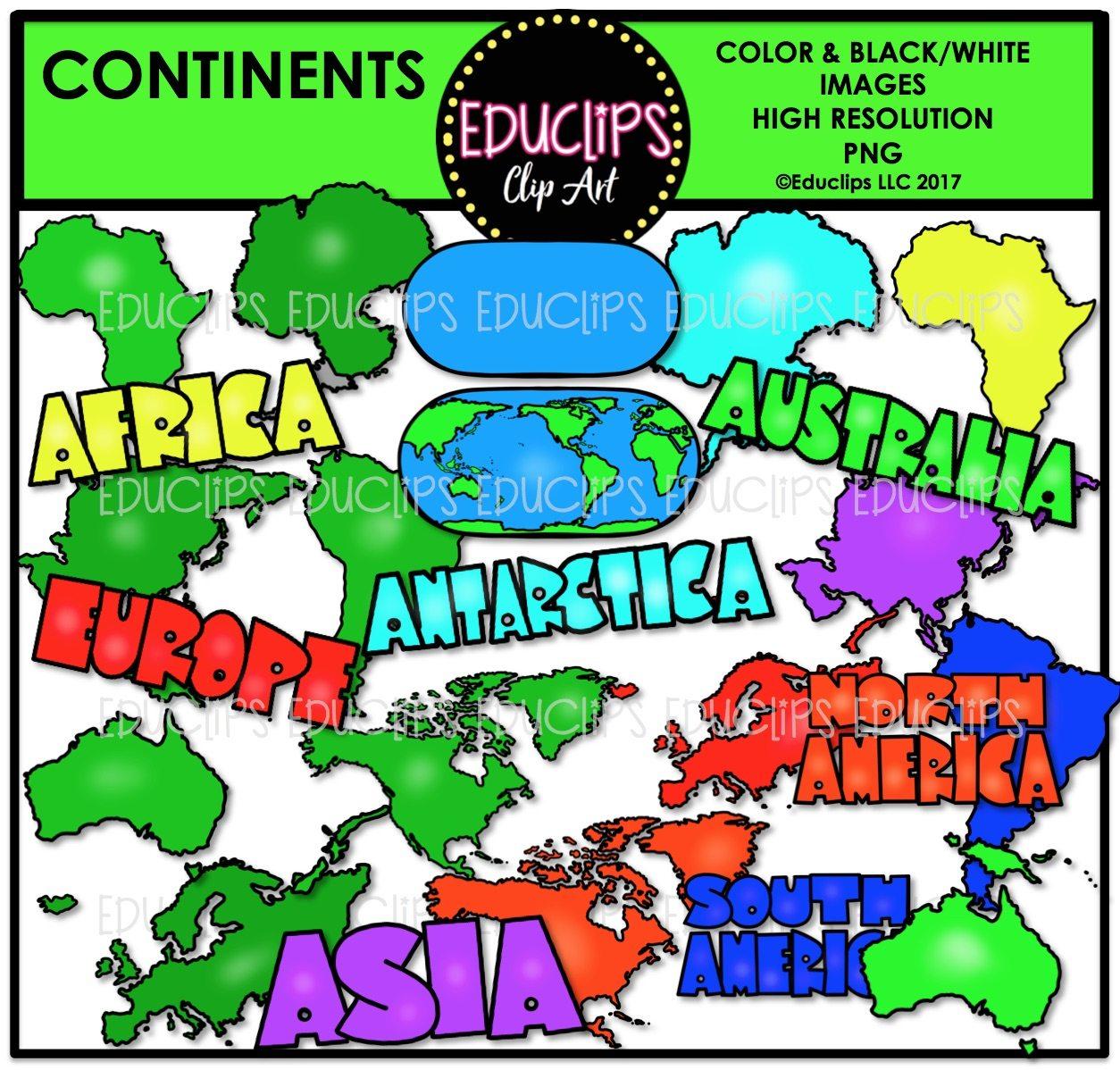 1254x1198 Continents Clip Art Bundle (Color And Bampw)