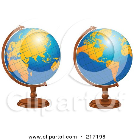 450x470 Royalty Free (Rf) Clipart Illustration Of A Shiny Blue Desk Globe