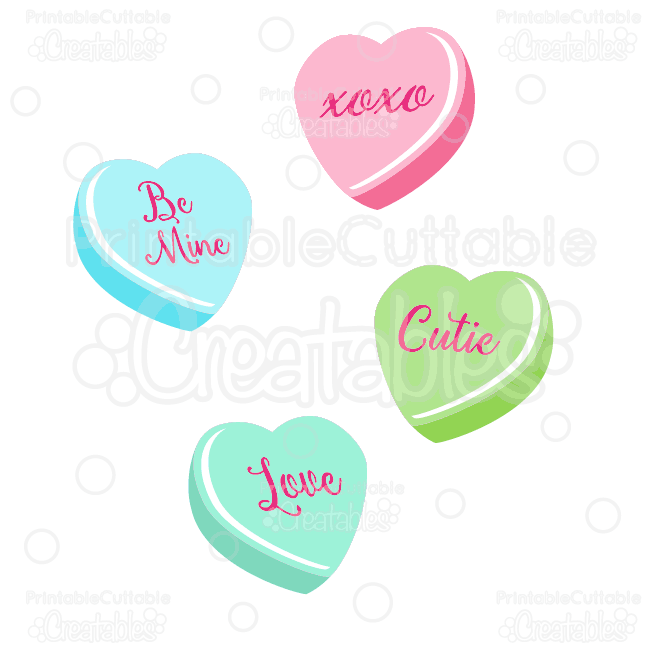650x650 Valentine's Candy Hearts Svg Cut Files Amp Clipart