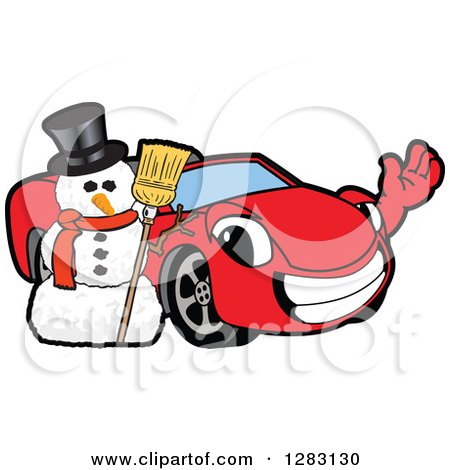 450x470 Clipart Of A Happy Red Convertible Car Mascot Character Waving By