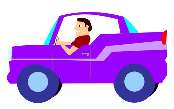 600x376 A Man Driving Sports Convertible Car Cartoon Clipart Vector Toons