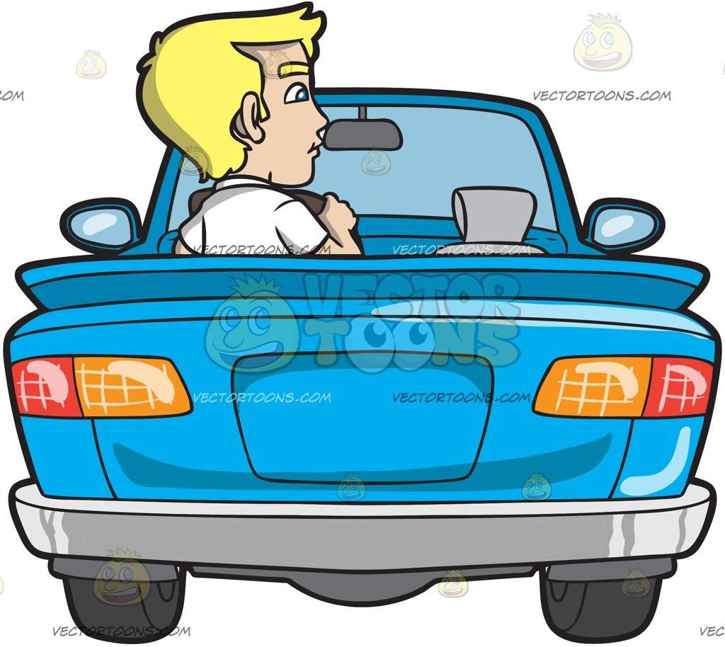 1024x914 A Young Blonde Man Driving A Convertible Blue Car Blonde Man