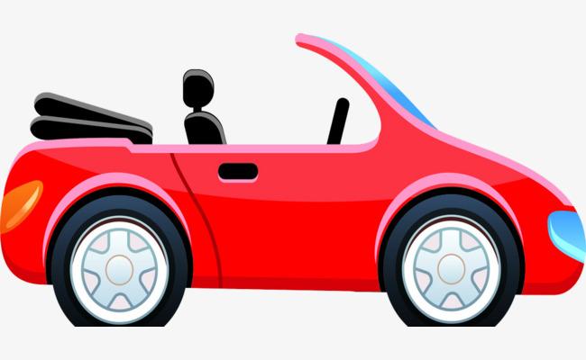 650x400 Cartoon Drawing Red Convertible Car, Convertible Car, Red, Cartoon