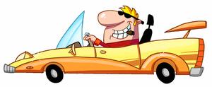 300x123 Clip Art Car Man A Driving Sports Convertible Cartoon Clipart