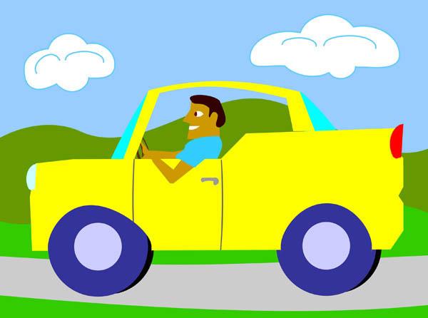 600x446 A Man Driving Sports Convertible Car Cartoon Clipart Vector Toons