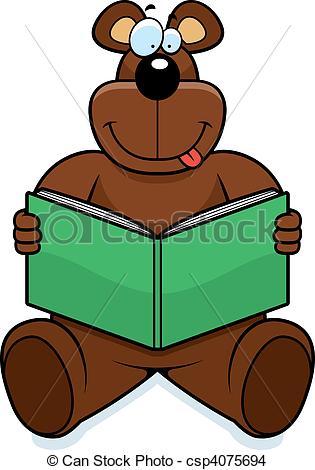 315x470 A Cartoon Bear Reading A Book And Smiling. Eps Vector