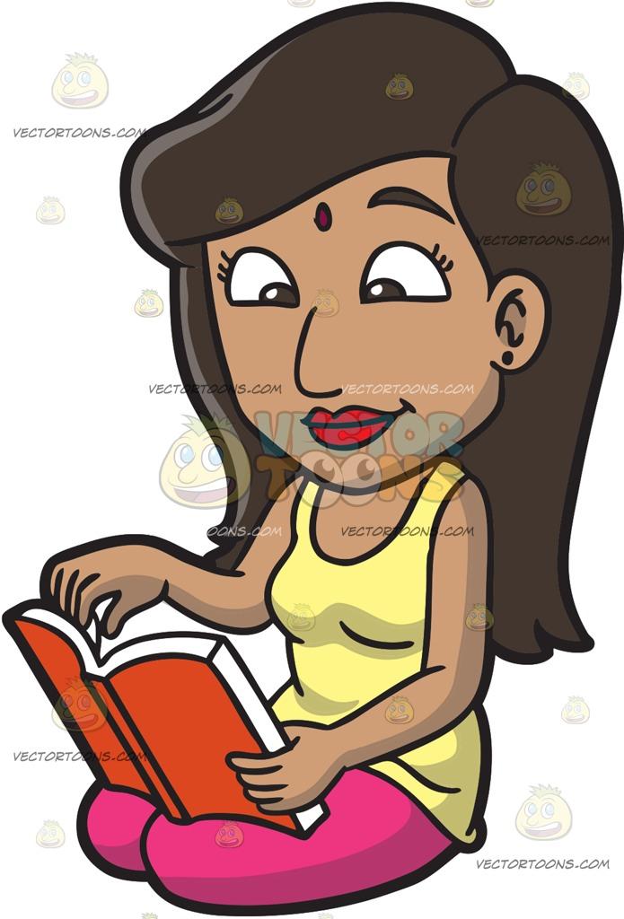 695x1024 An Indian Woman Reading A Book Cartoon Clipart Vector Toons