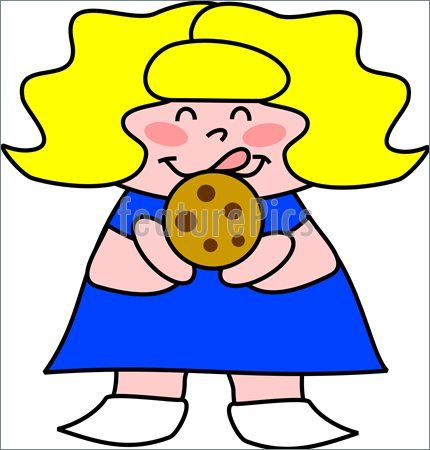 430x450 Girl Eating Cookie Clipart