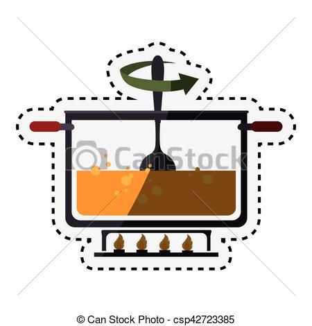450x470 Kitchen Pot Cooking Icon Vector Illustration Design Vector