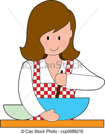 371x470 Woman Cooking. A Woman Stirring A Recipe In A Big Bowl Stock