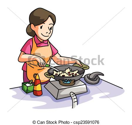 450x425 Cooking Clipart House Wife Cooking Vectors Illustration Search
