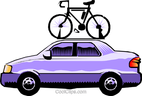 480x325 Car With Bicycle Roof Rack Royalty Free Vector Clip Art