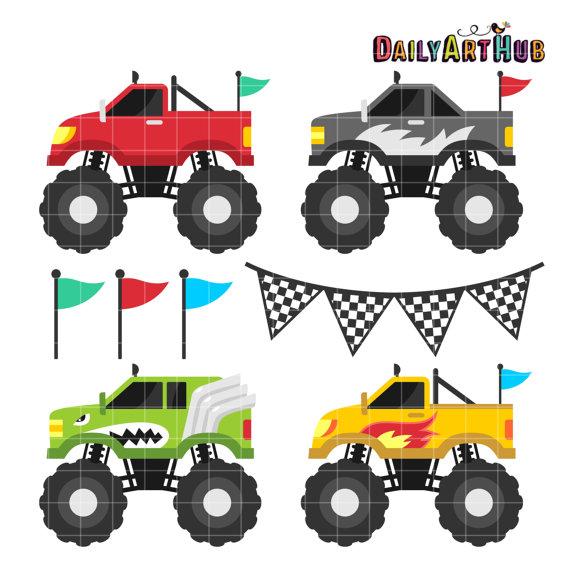 570x571 Monster Truck Clip Art Four Wheel Drive Clipart Cool