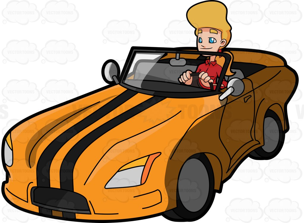 1024x752 A Woman Driving A Cool Sports Car Cartoon Clipart Vector Toons