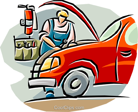 480x388 Auto Mechanic Working On A Car Royalty Free Vector Clip Art