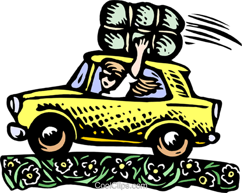 480x382 Waving Woman In Car Royalty Free Vector Clip Art Illustration
