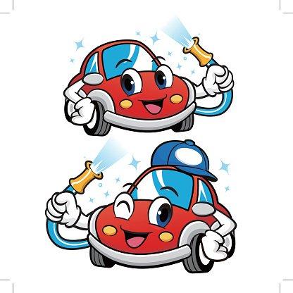 416x416 Car Character Is Car Wash To Vector Car Mascot Design Premium