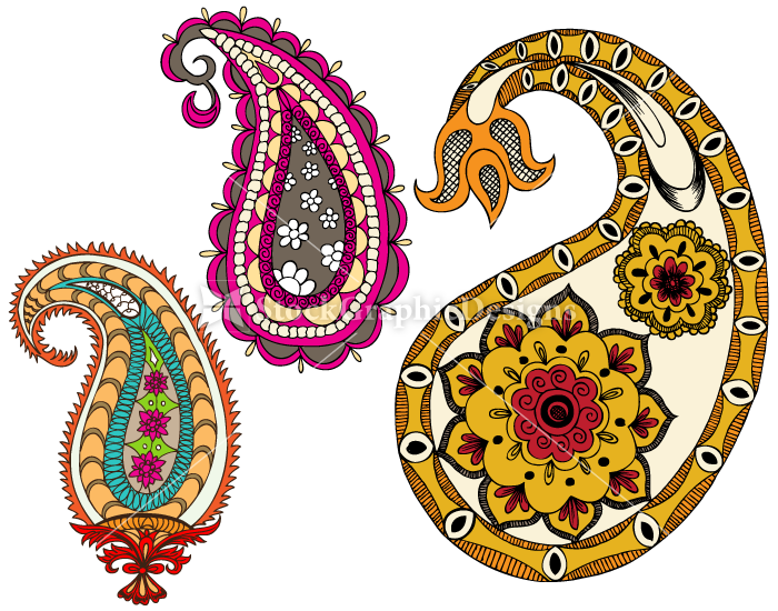 700x550 Indian Paisley Designs Clip Art