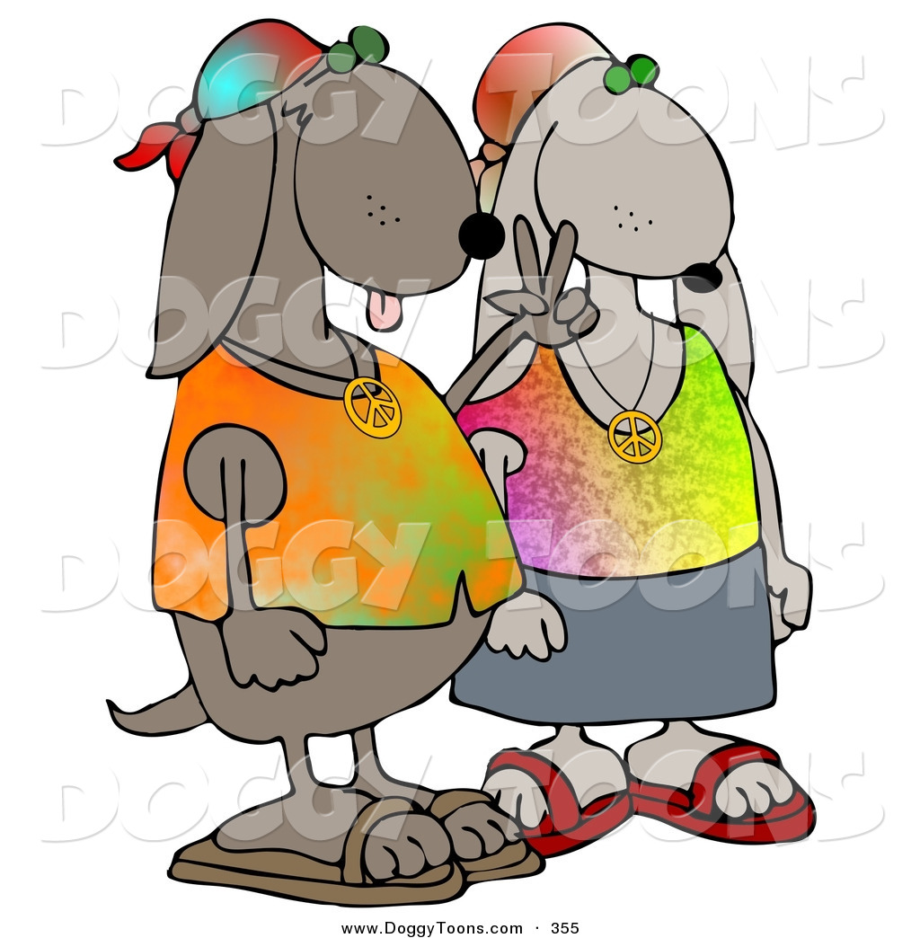 1024x1044 Doggy Clipart Of A Cool Brown Hippie Dog Couple Wearing Tie Dye