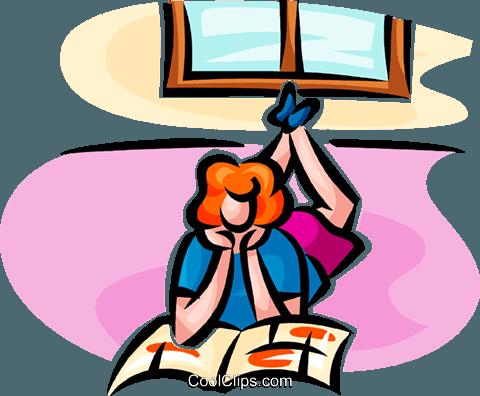 480x396 Girl Reading A Magazine Royalty Free Vector Clip Art Illustration