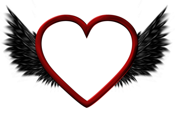 600x391 Red Transparent Heart With Black Wings Png Pictureu200b Gallery